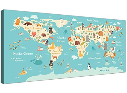 Mapa Del Mundo Infantil.Animal Mapa Del Mundo Atlas Lienzo Para Habitacion Infantil Educational Kids Imagenes Diseno 120 Cm De Ancho 1293
