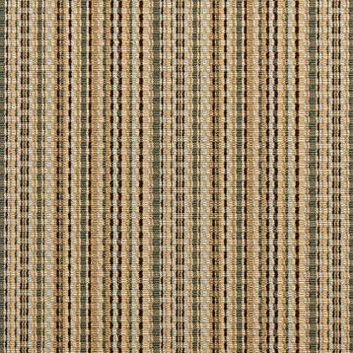 B0180D Green Gold And Light Blue Woven Striped Silk Satin Look Upholstery Fabric By The Yard Light Blue Striped Satin