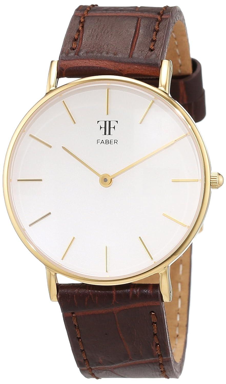 Faber Time Unisex-Armbanduhr Analog Quarz Leder F606YG