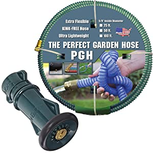 Tuff-Guard 001-0109-0600-FNB75GHT Thermoplastic Elastomer/Polyester/Polypropylene (PP)/Brass The Perfect Garden Hose, Coupled Male x Female GHT, 5/8