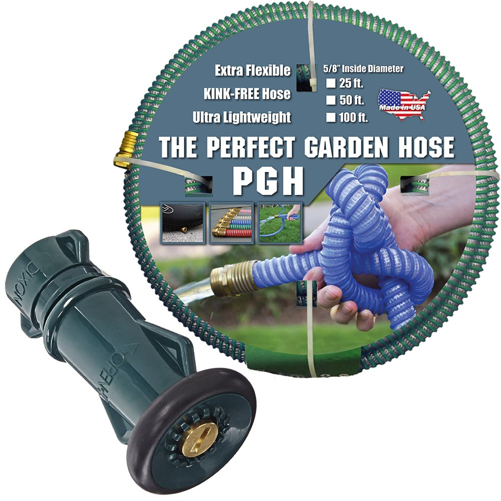 Tuff-Guard 001-0109-1200-FNB75GHT Thermoplastic Elastomer/Polyester/Polypropylene (PP)/Brass The Perfect Garden Hose, Coupled Male x Female GHT, 5/8'' x 100', Green, Ght Thread, 100' Length, 0.63'' ID