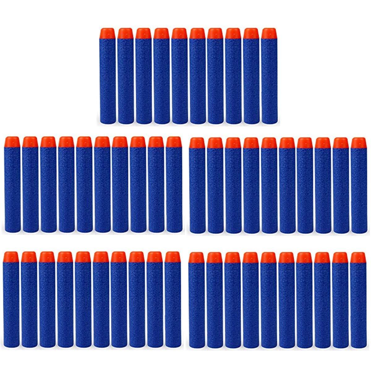 HONGCI 50pcs 7.2cm Blue Foam Darts for Nerf N-strike Elite Series Blasters Toy Guns