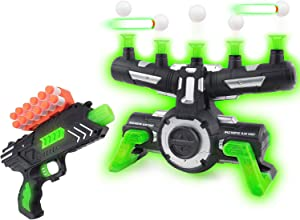 Pidoko Kids Targets Shooting Game Compatible with Nerf - Floating Darts for Target Practice, with Blaster - Toy Hover Guns for Boys or Girls and Foam Darts - Glow in The Dark with Music New Edition