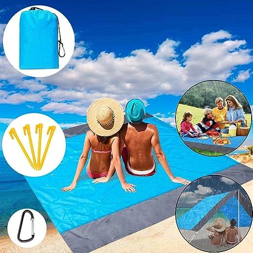Alfombras de Playa, Toalla Playa Gigante 200 x 210cm, con 4 Estaca Fijo, Portátil y Ligero Manta Picnic Anti-Arena Impermeable para la Playa, Picnic y Otra Actividad al Aire Libre (Azul +