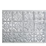"Fasade Easy Installation Traditional 1 Brushed Aluminum Backsplash Panel for Kitchen and Bathrooms (18"" x 24"" Panel)"