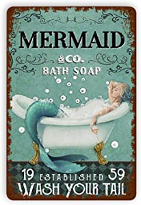 Pizigci Mermaid & Co. Bath Soap Metal Vintage Tin Sign Wall Decor Funny Fashion Tin Sign Wall Plaque Poster Home Decor for Bars, Restaurants, Cafes Pubs,8x12 Inch