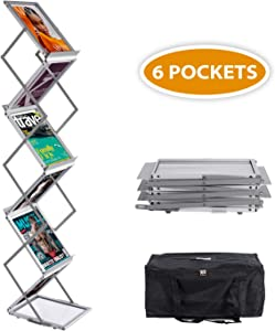 AkTop Foldable Magazine Catalog Brochure Rack Literature Stand Pop up 6 Pockets, Aluminum Portable Exhibition Literature Floor Holder with Carrying Bag for Office and Trade Show Display