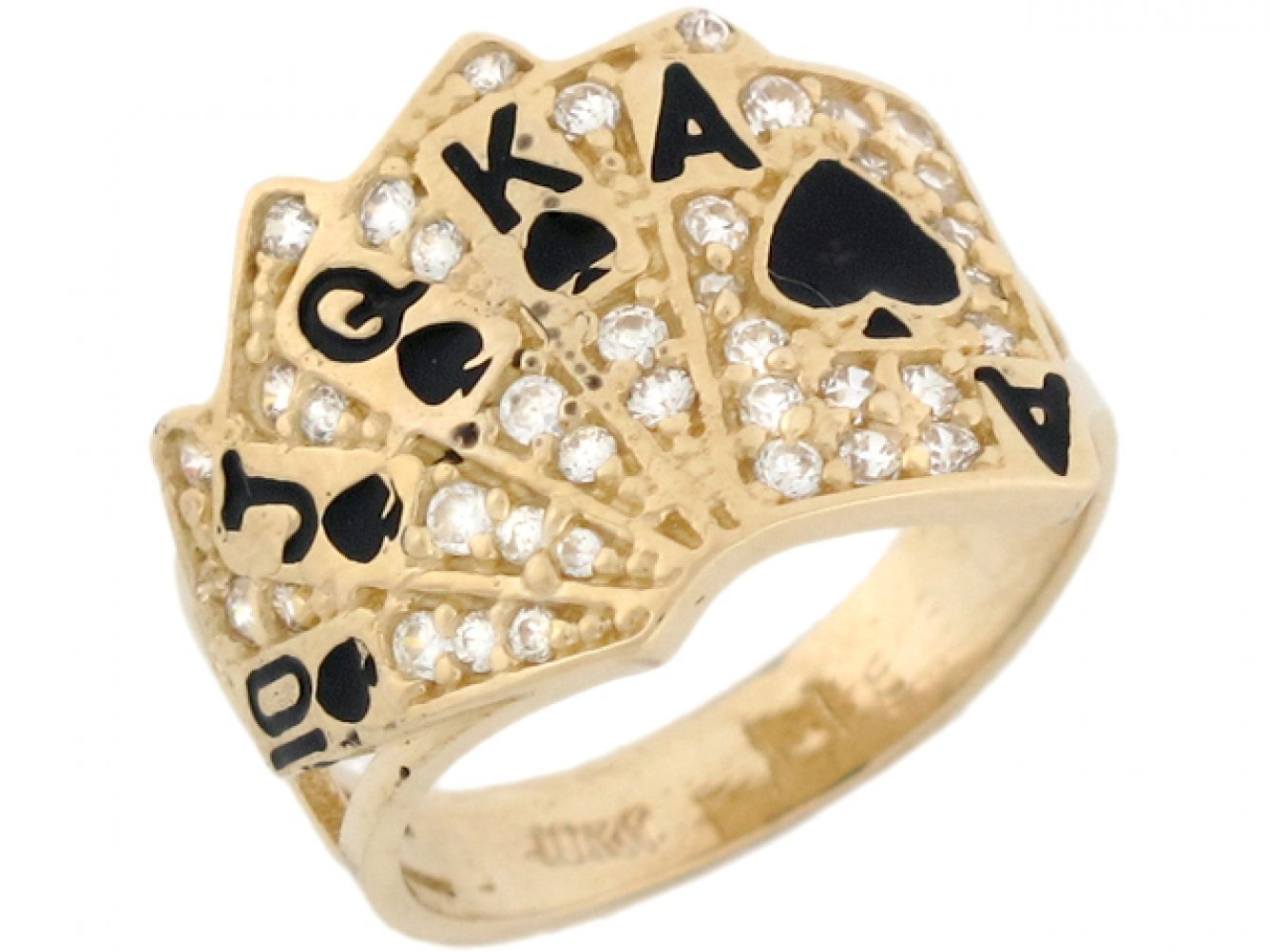14k Real Solid Gold CZ Royal Flush Poker Card Enamel Lucky Unisex Ring by Jewelry Liquidation (Image #2)