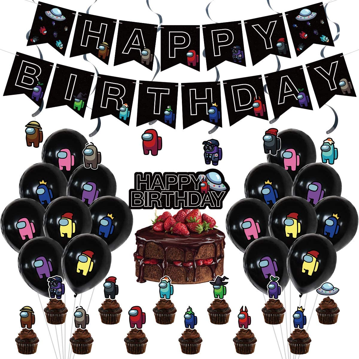 Plastic Swirls Party Supplies Includes Happy Birthday Banner Among Us Party Decorations,Game Among Us Crewman Birthday Party,Among Us Party Favors Cake Topper Balloons Cupcake Topper Among Us Stickers