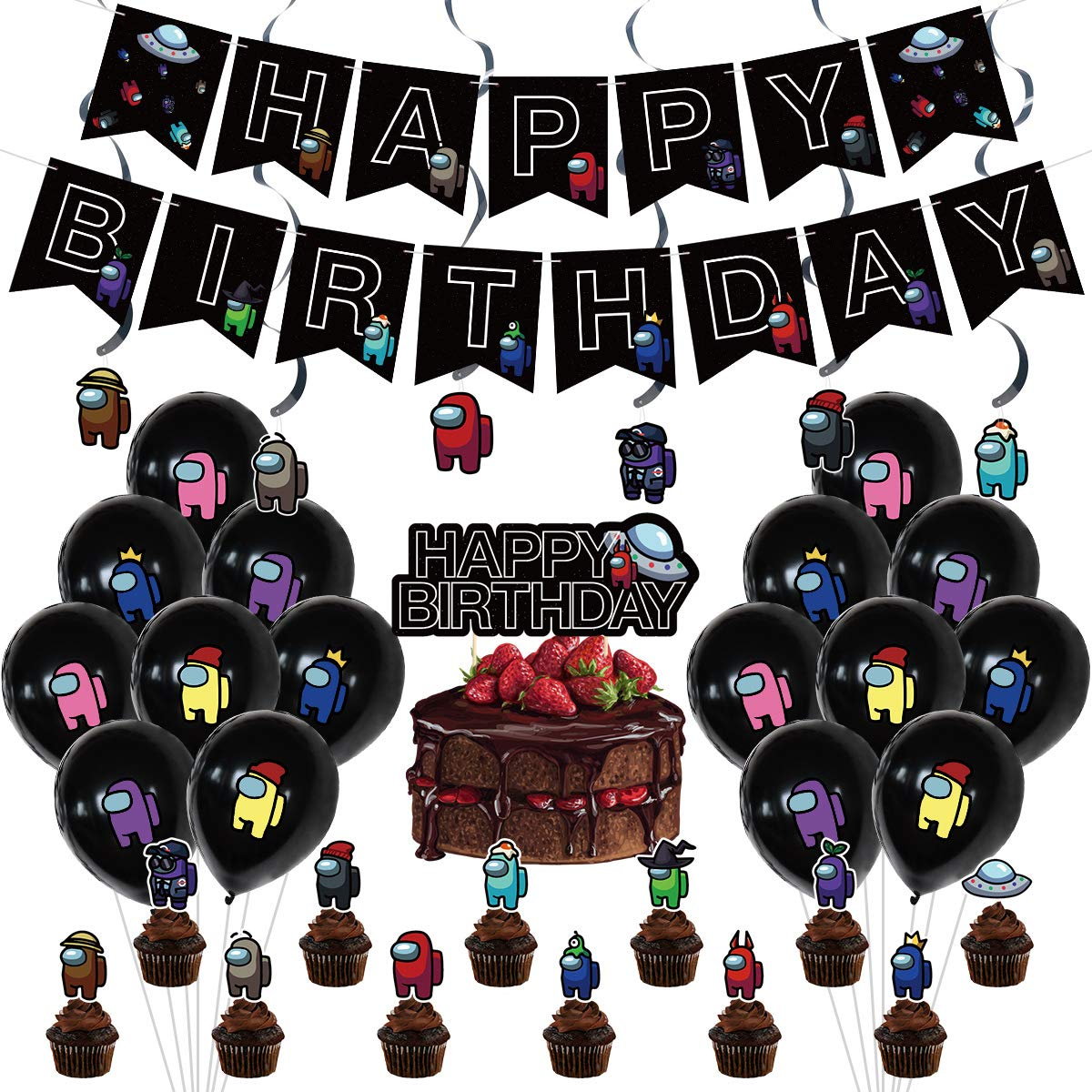 Among Birthday Party Decorations Supply Set for Kids with Happy Birthday Banner Garland, Cake Topper, Cupcake Toppers, Balloons for Party Decorations