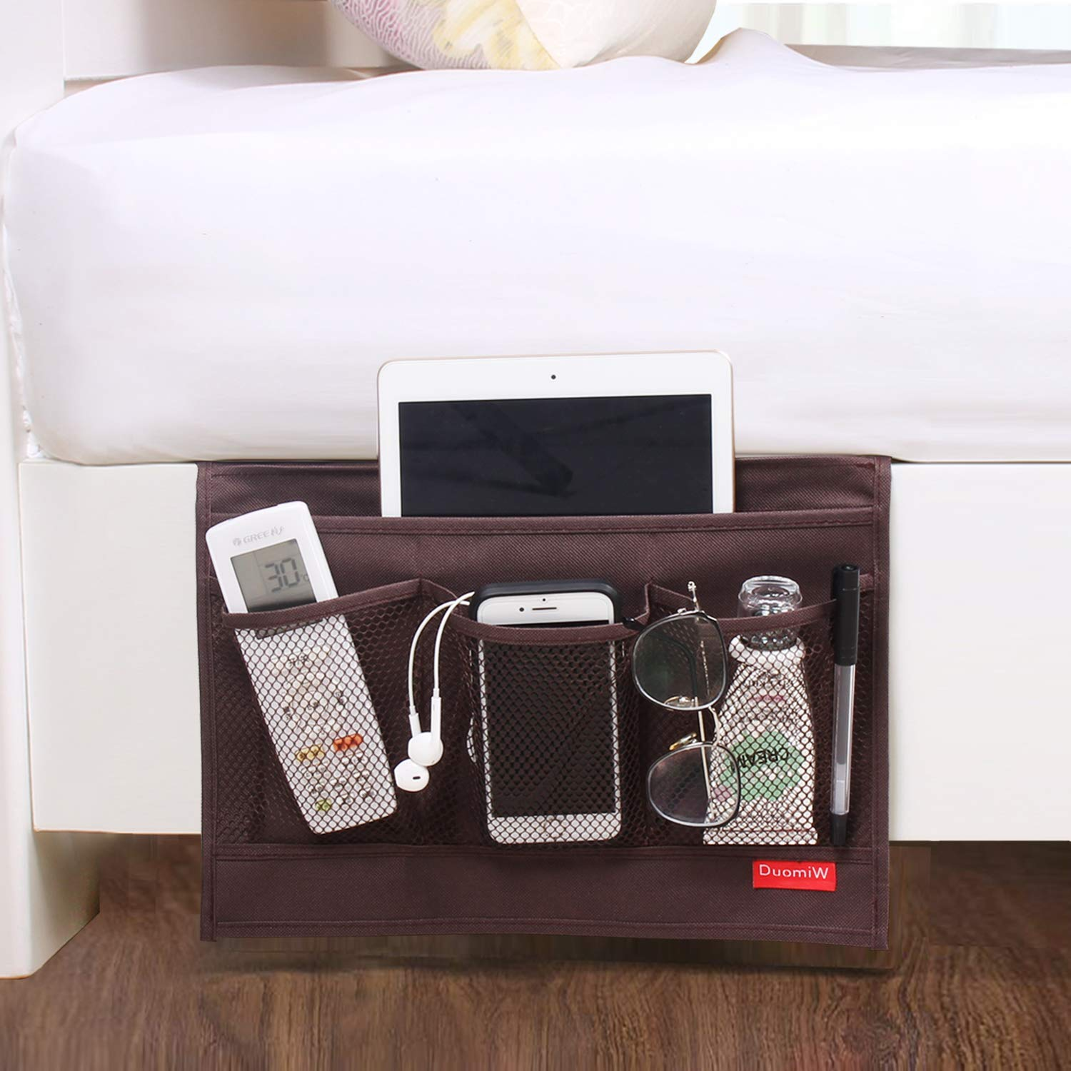 TV Remote Control Accessories Beside Caddy DuomiW Bedside Storage Organizer Tablets Black Phones Magazines Table Cabinet Storage Organizer