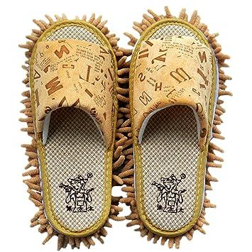 YL historia microfibra chenilla cartas patrón Lazy Zapatillas fregona desmontable zapatos de limpieza Limpiador de suelo, caqui, talla única: Amazon.es: ...