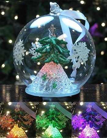 Amazon.com: LED Tree Christmas Ornament - Glass Ball with Green ...