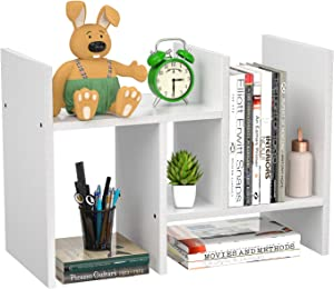 FoxEmart Desktop Shelf Organizer, Adjustable Wood Display Desk Shelf, Countertop Storage Rack Tabletop Bookshelf Multipurpose Shelves for Home Decor, Office, Kitchen, Bathroom - White