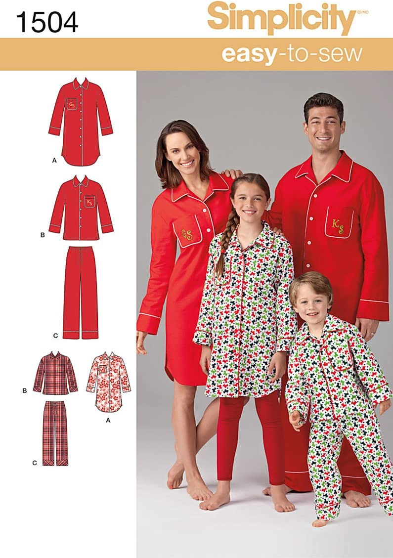 Simplicity 1504 Childs Childrens Sizes XS-L and Adults Sizes XS-XL Teens and Adults Matching Pajama Sewing Patterns