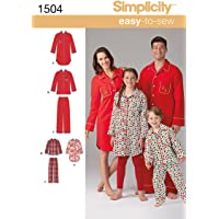 Simplicity 1504 Child's, Teen's and Adult's Matching Pajama Sewing Patterns, Children's Sizes XS-L and Adult's Sizes XS…