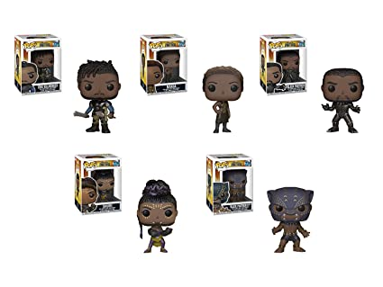 e87f35d6394 Amazon.com  Funko Pop! Marvel  Black Panther Movie Set of 5 - Black ...