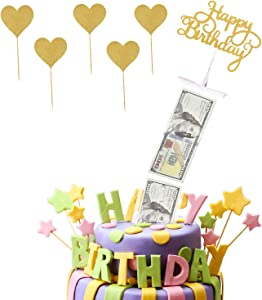 Cake Money Box Set, Shinny Heart Cake Toppers Cake Money Pull Out Kit, for Birthday Party Decoration, Food Contact Safe