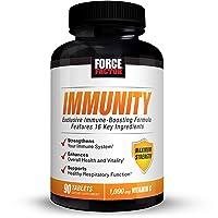Immunity, Immune Support Supplement for Men & Women with Elderberry, Vitamin C & D, Zinc, Quercetin, Echinacea, Antioxidants, Probiotics and Wellmune, Force Factor, 90 Tablets