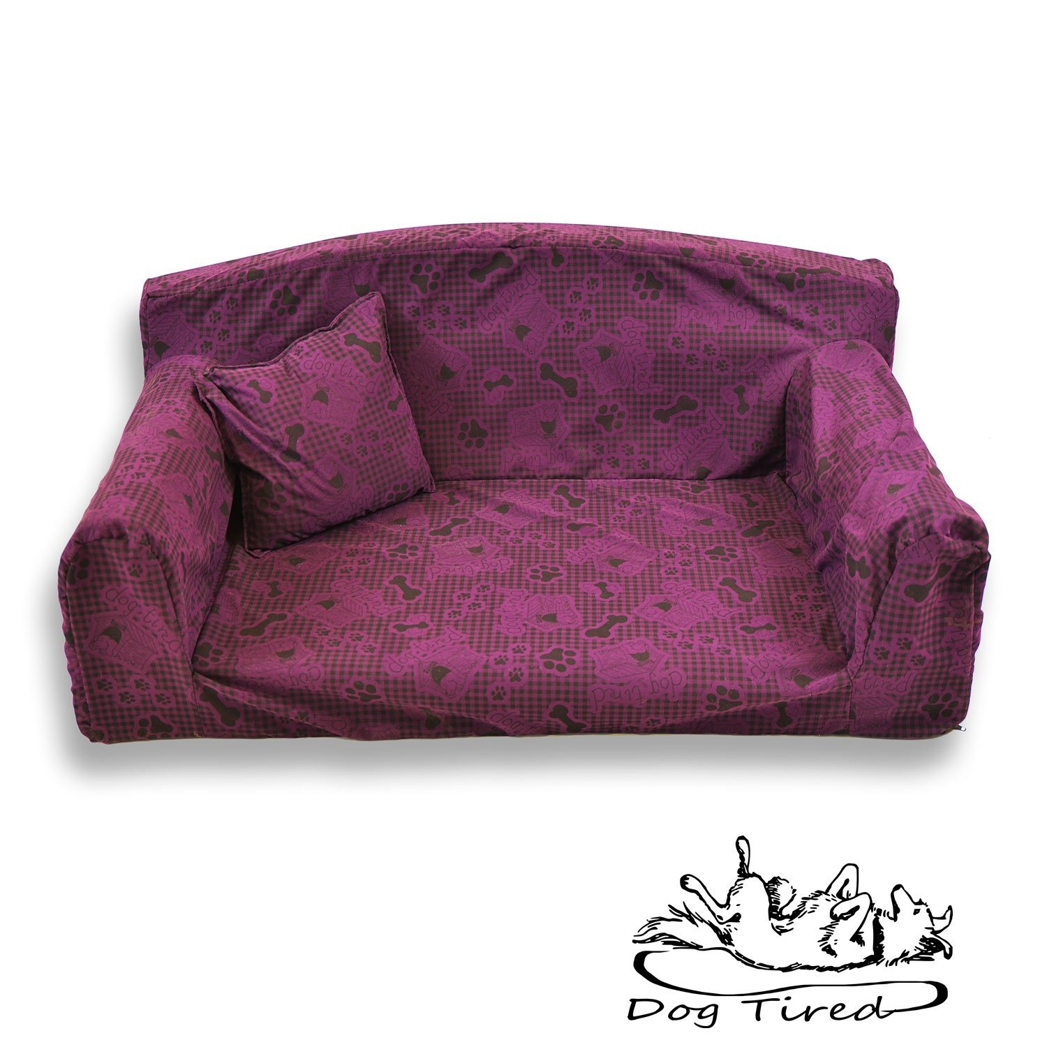 Dog Tired Purple – Pet Sofa. Trendy 3 sizes Dog bed. Modern cover material. Made in UK (Large 96 x 64 x 34 cm) Pet Beds Direct