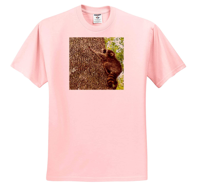 3dRose Cassie Peters Wildlife Baby Raccoon in a Tree Digital Painting T-Shirts