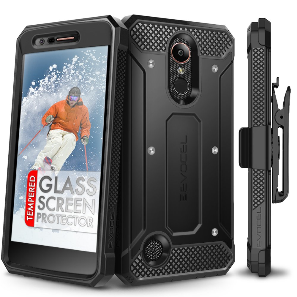 LG K20 Plus Case, Evocel [Explorer Series] with Free [LG K20 Plus Glass Screen Protector] Premium Full Body Case [Slim Profile][Rugged Belt Clip Holster] for LG K20 Plus / K20 V/LG Harmony, Black