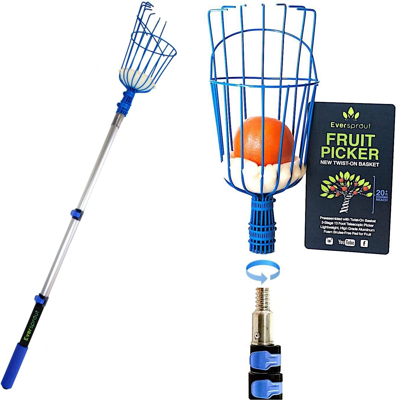 EVERSPROUT 1.5-4.5 Foot Fruit Picker (8-10 Ft Standing Reach)   Preassembled, Easy to Attach Twist-On Basket   Lightweight, High-Grade Aluminum Extension Pole   +Bonus Fruit Carrying Bag