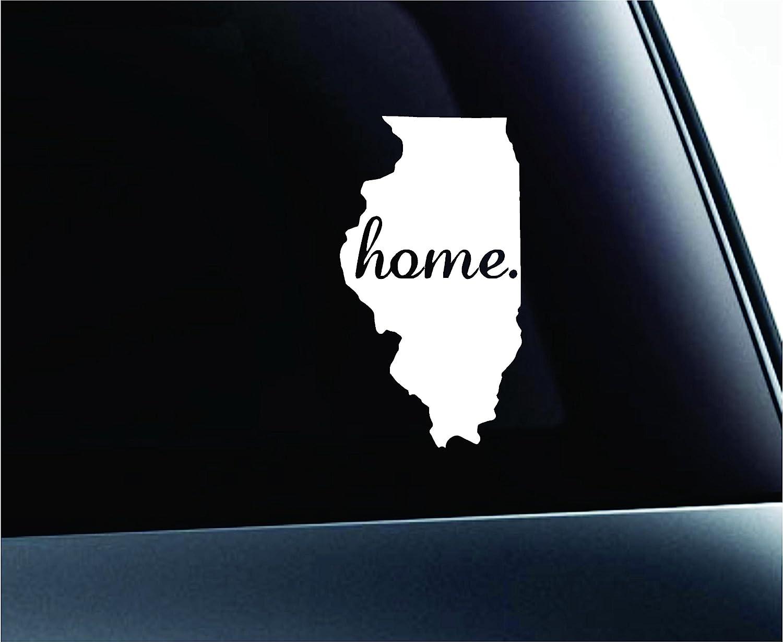 ExpressDecor #2 Home Illinois Symbol Decal Family Love Car Truck Sticker Window (White)