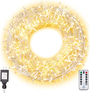 Ollny Christmas Lights 800 LEDs 330ft LED Outdoor String Lights Warm White with Remote Control and Timer Plug in 8 Lighting Modes for Wedding Party Christmas Decoration Lights NOT CONNECTABLE