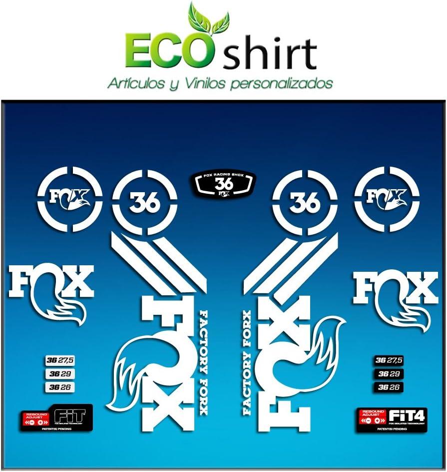 Ecoshirt RK-AQ50-W2YD Stickers Sticker Fork Fox 36 Am60 Aufkleber Decals Autocollants Adesivi Forcela Gabel Fourche White