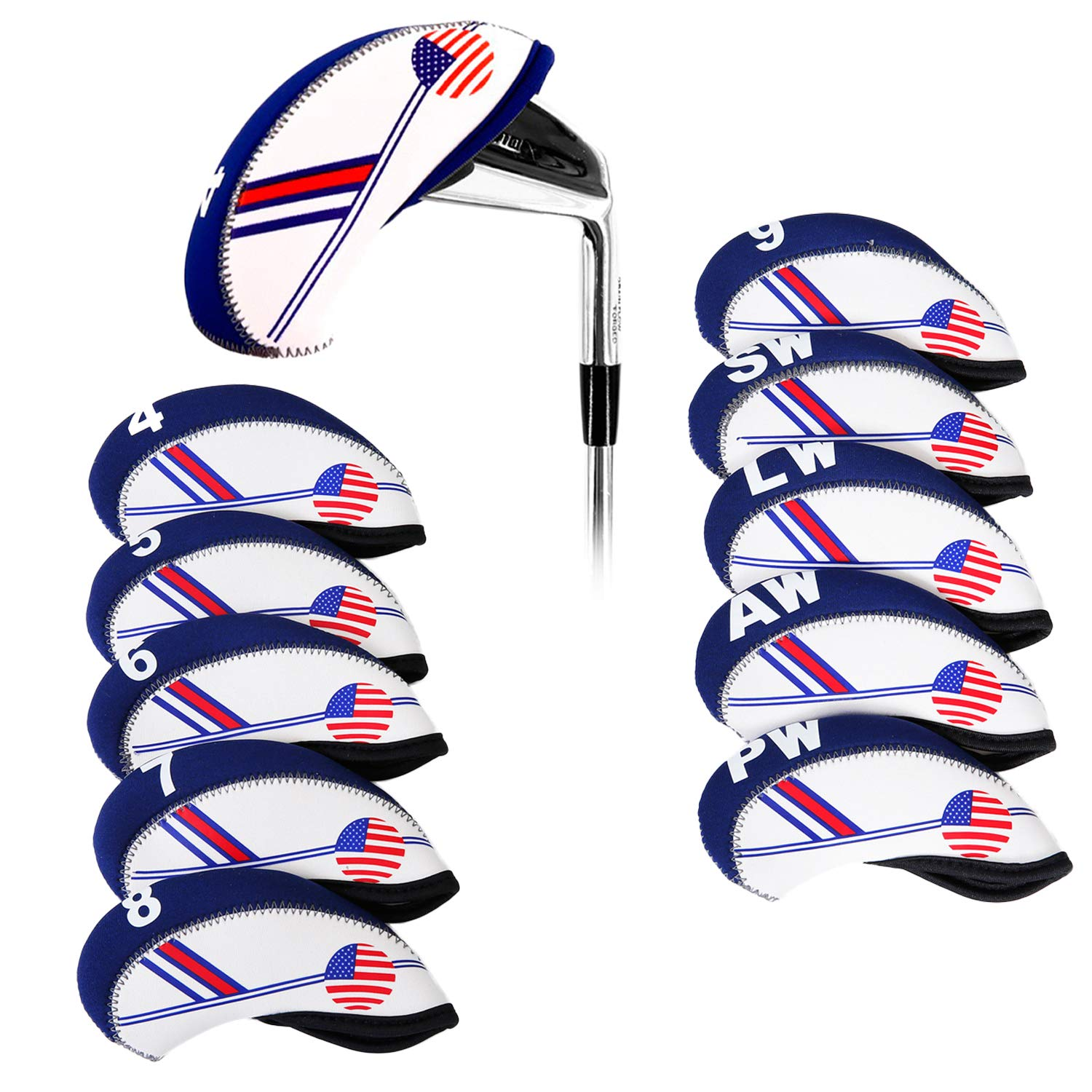 SunTrade 10pcs Golf White & Blue US Flag Neoprene Golf Club Head Cover,for Titleist, Callaway, Ping, Taylormade, Cobra, Nike, Etc.