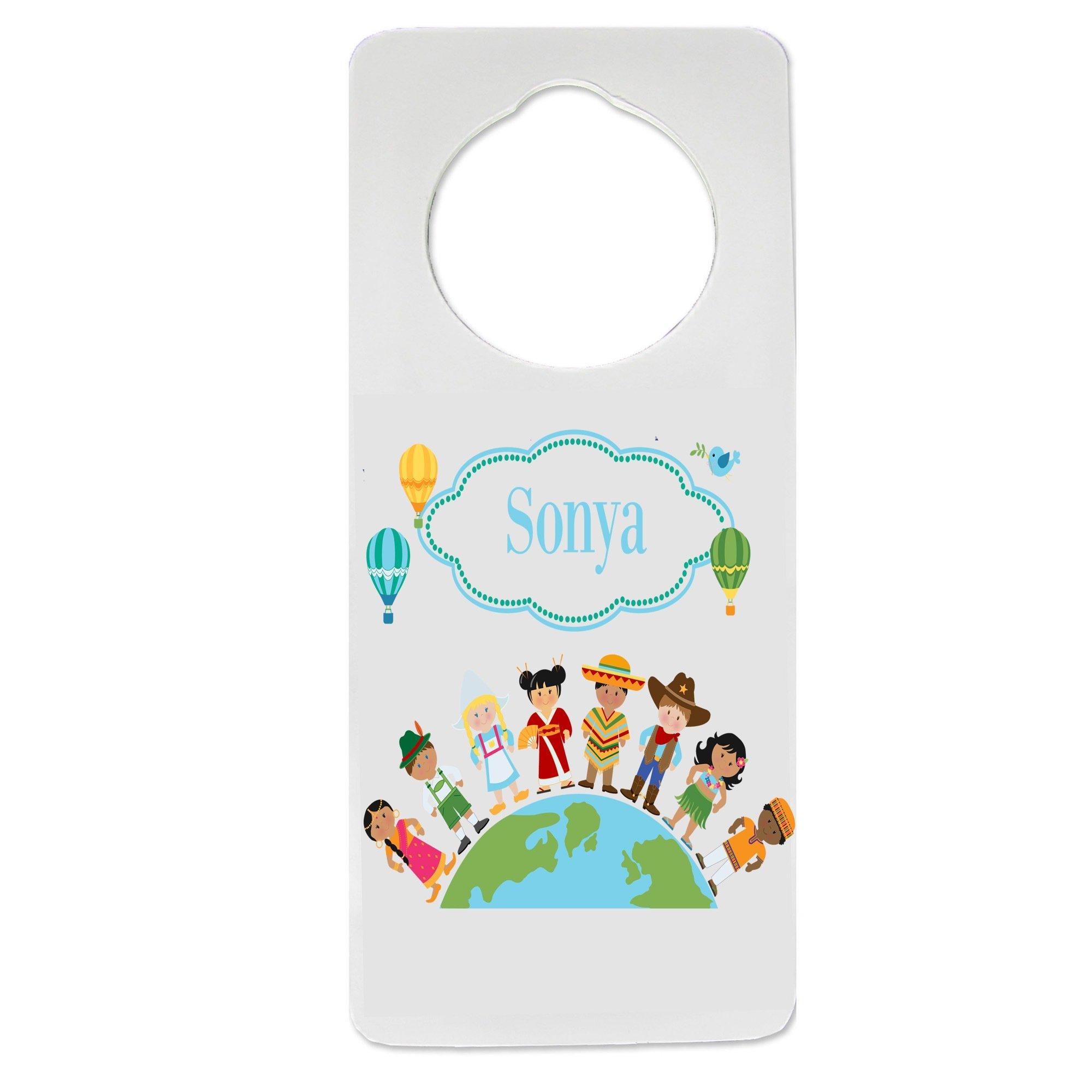 Personalized Small World Nursery Door Hanger