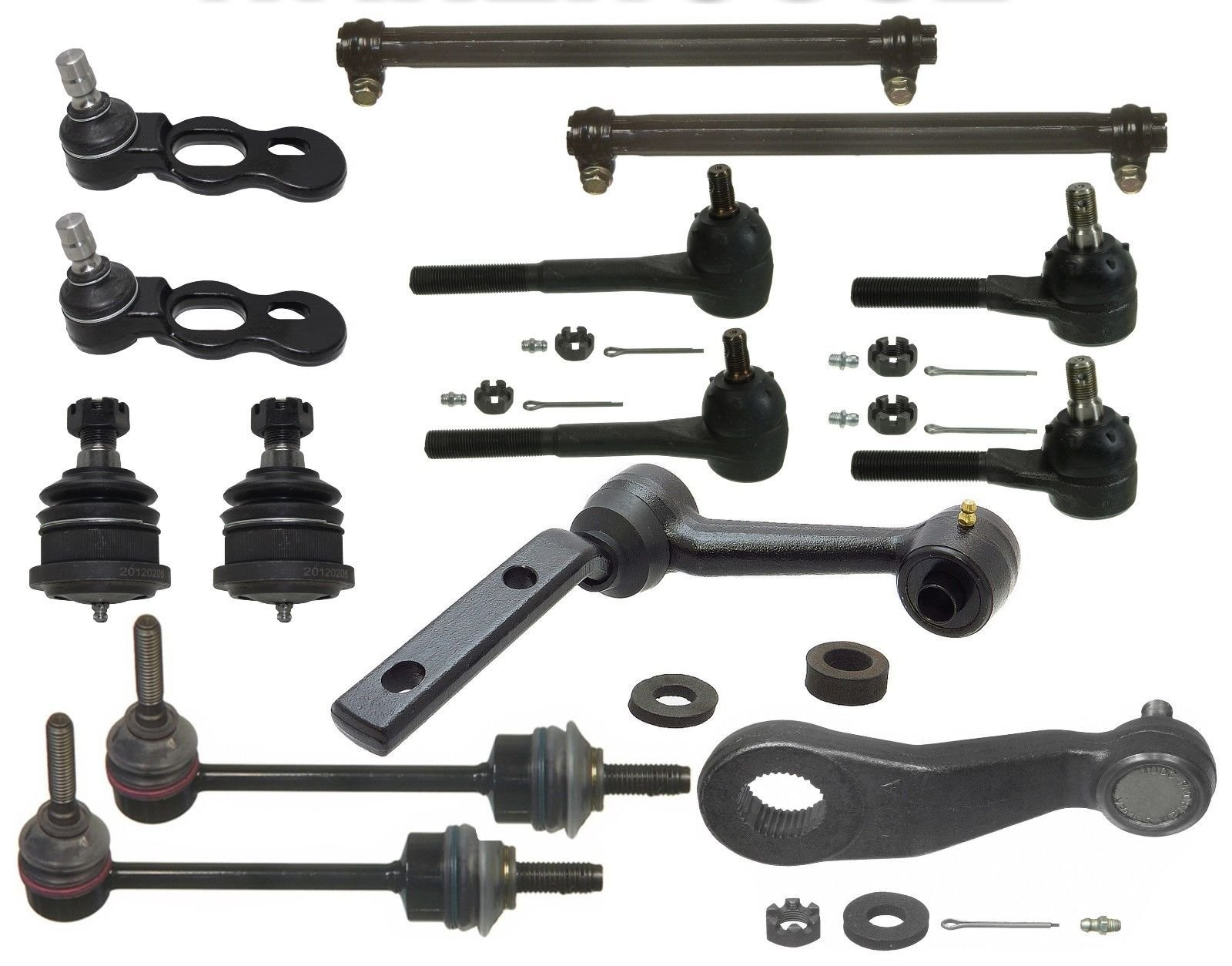 PartsW 14 Piece Kit Upper Lower Ball Joints Stabilizer Bar Links Pitman & Idler Arms Inner Ouetr Tie Rod Ends