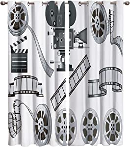 Edwiinsa Movie Theater Kitchen Blackout Curtains Window Drapes Treatment, 2 Panels Set for Kitchen Cafe Office, Movie Industry Themed Greyscale of Projector Film Slate and Reel 104W x 63L inch