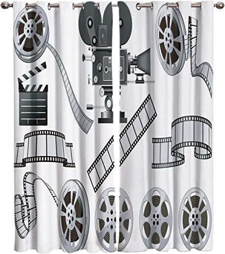 Edwiinsa Movie Theater Kitchen Blackout Curtains Window Drapes Treatment
