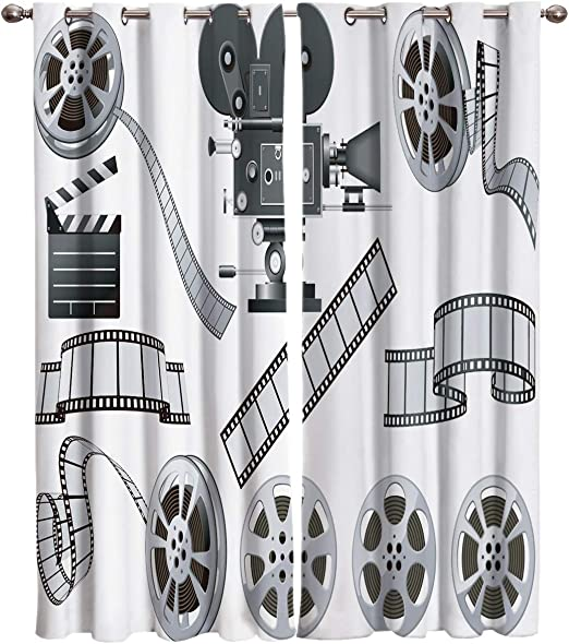 Amazon Com Edwiinsa Movie Theater Kitchen Blackout Curtains Window Drapes Treatment 2 Panels Set For Kitchen Cafe Office Movie Industry Themed Greyscale Of Projector Film Slate And Reel 80w X 84l Inch Home