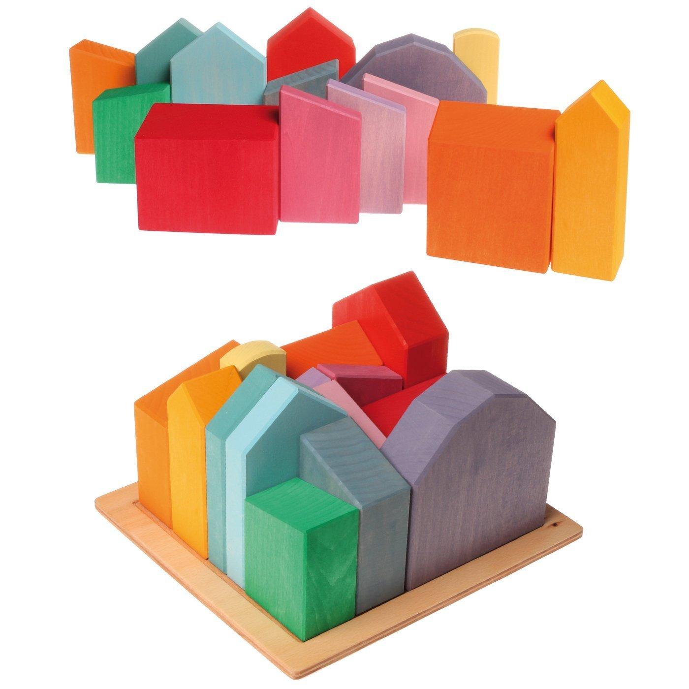 Grimm's Wooden City & Town Waldorf Building Blocks Set, Village of Large Houses