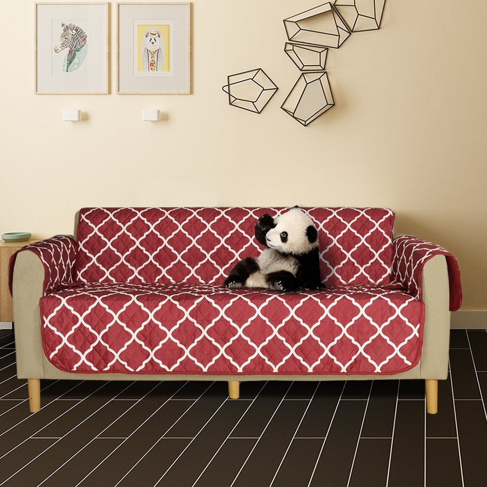 Lamberia Sofa Cover Reversible Sofa Furniture Protector Couch Cover Dogs, Pets, Kids (Burgundy, Sofa)