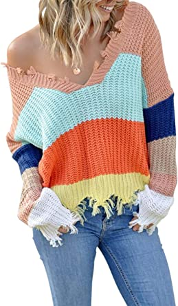 Womens Colour Block Knitted Sweater Long Sleeve Causal Loose Tops Blouses Jumper
