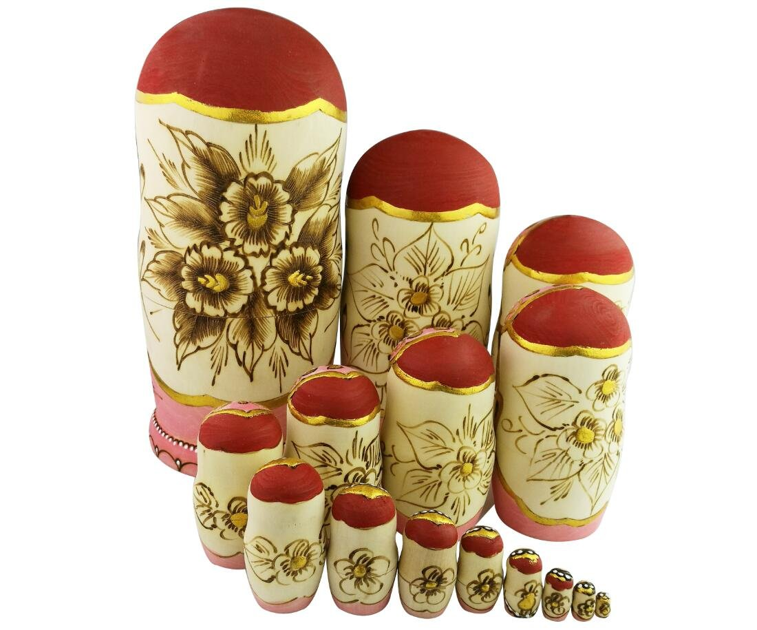 Set of 15 Wooden Girl Castle The Kremlin Traditional Russian Nesting Dolls Matryoshka Stacking Dolls Fun Toys for Kids Christmas Birthday Present Gift by Winterworm (Image #3)