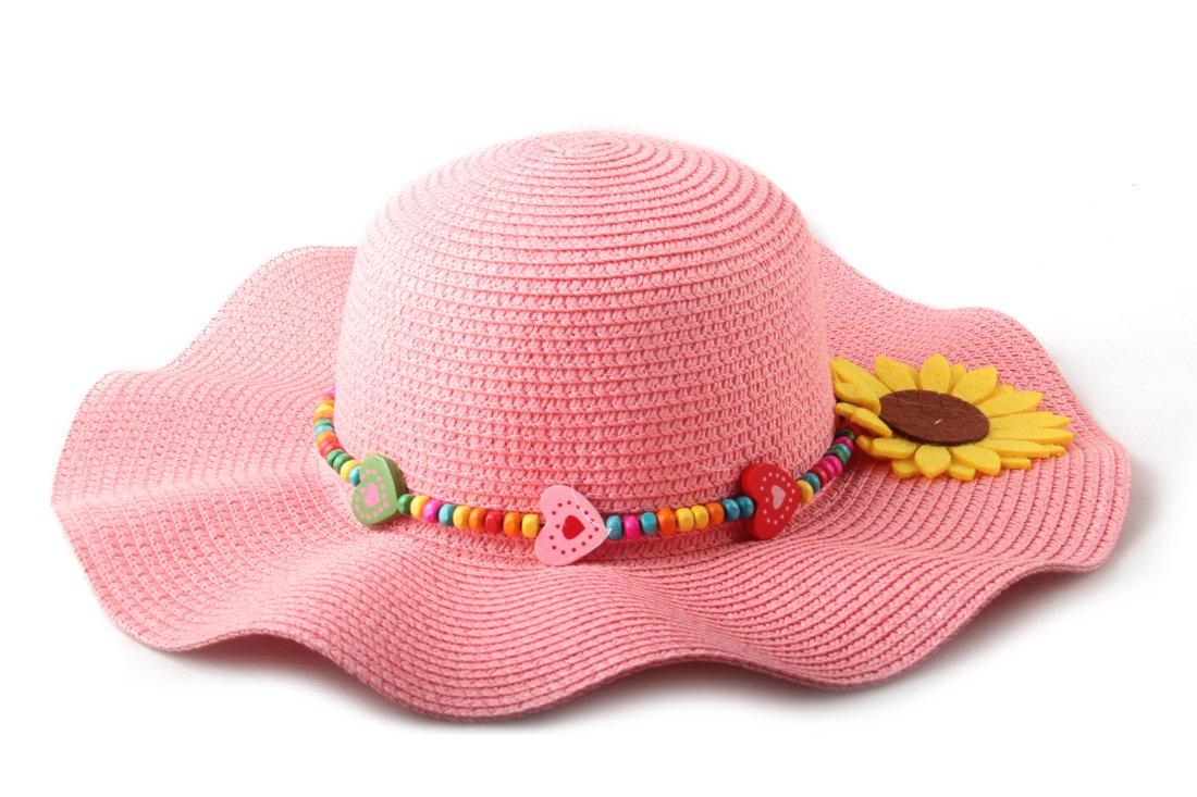 Dantiya Kids Multicolor Sun Hat Large Brim Flower Beach Hats for Girls ,Pink, Free Size