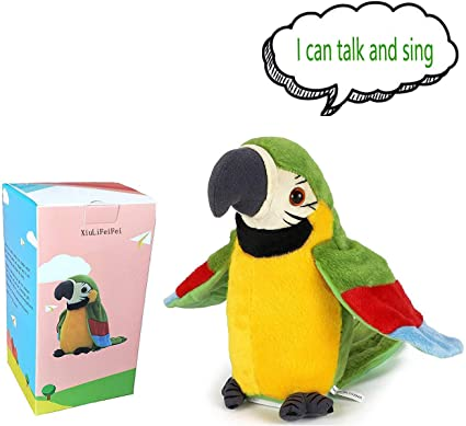 Talking Parrot Repeats Upgrade Newest Talking Parrot What You Say With Cute Voice Electronic Pet Talking Plush Parrot for Child Kids gift Party Plush Toy Gift Birthday Gift Kids Early Learning