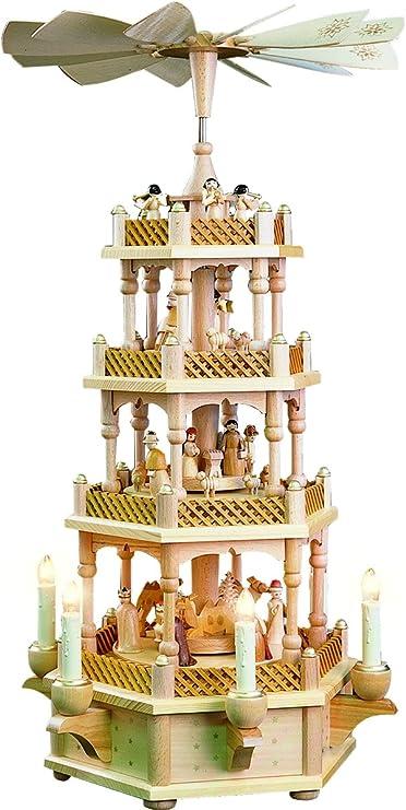 Richard Glässer 4 - tier Pirámide de Navidad alemán Belén de madera natural - 23 cm - 59 cm - Auténtico alemán Erzgebirge pirámides de Navidad: Amazon.es: Hogar