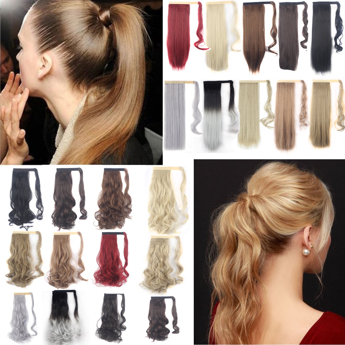FLORATA 24 Clip in hair extensions Wrap Around Ponytail Long Straight Hairpiece for Women(Sliver Grey)