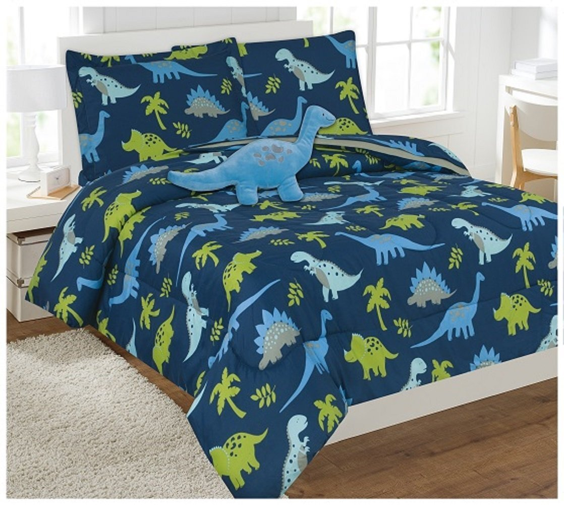 6 Piece Comforter Set Kids Bed in a Bag- Twin (Dinosaur Sky Blue