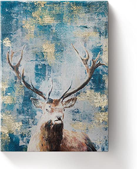 Abstract Deer painting Canvas wall art home decor Animal watercolor oil paint