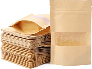 Kraft Paper Stand Up Food Storage Ziplock Bags with Matte Window(100pcs,Resealable,3.5 x 5.5inch)