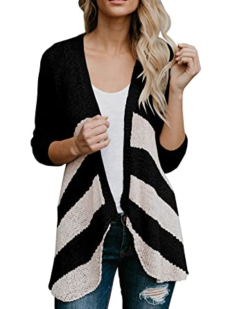 06ea5e2c5f Farktop Womens Lightweight Striped Open Frong Cardigans Long Sleeve Knit  Duster Top Coverups