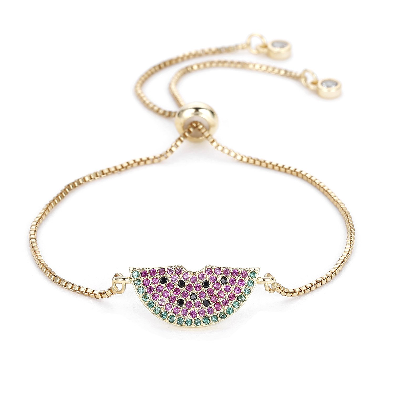 POSHFEEL Handcraft Micro Pave Watermelon Charm Bracelet Gold Plated Adjustable Chain, Cute for Summer
