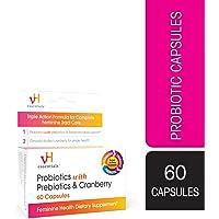 vH essentials Probiotics with Prebiotics and Cranberry Feminine Health Supplement, 60 Capsules